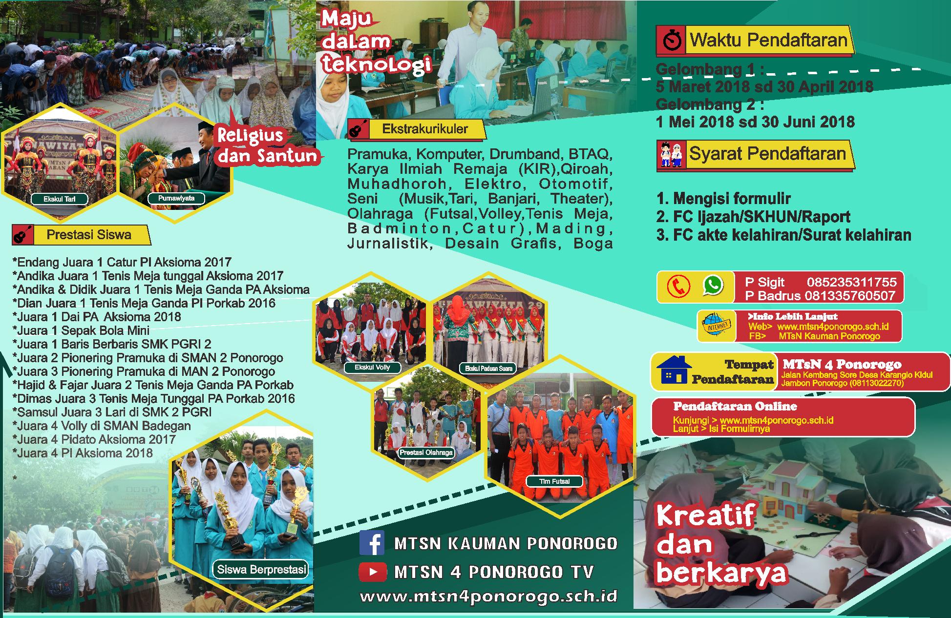 BROSUR PPDB MTsN 4 PONOROGO TAHUN 2018